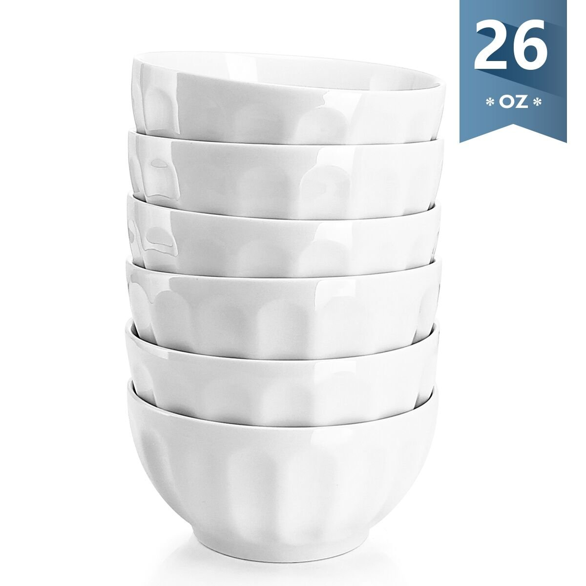 Sweese 1108 Porcelain Fluted Bowl Set - 26 OZ Deep
