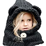 Baby Girls Boys Winter Hat Scarf Earflap Hood Scarves Caps (Black Panda 2-8year Old)