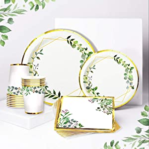 Ola Memoirs Greenery Safari Plates and Napkins for 24 Boho Party Supplies Jungle Theme Baby Shower Paper Disposable Cups Birthday Decorations Bridal Floral Tropical Wedding Gold Green Decor Boy Girl
