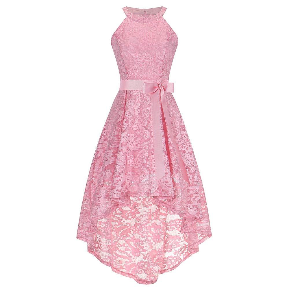 DEATU Bridesmaid Lace Dress Women Sleeveless/Long Sleeve Formal Ladies Wedding Bridesmaid Lace Long Dress(E-Pink,XL)
