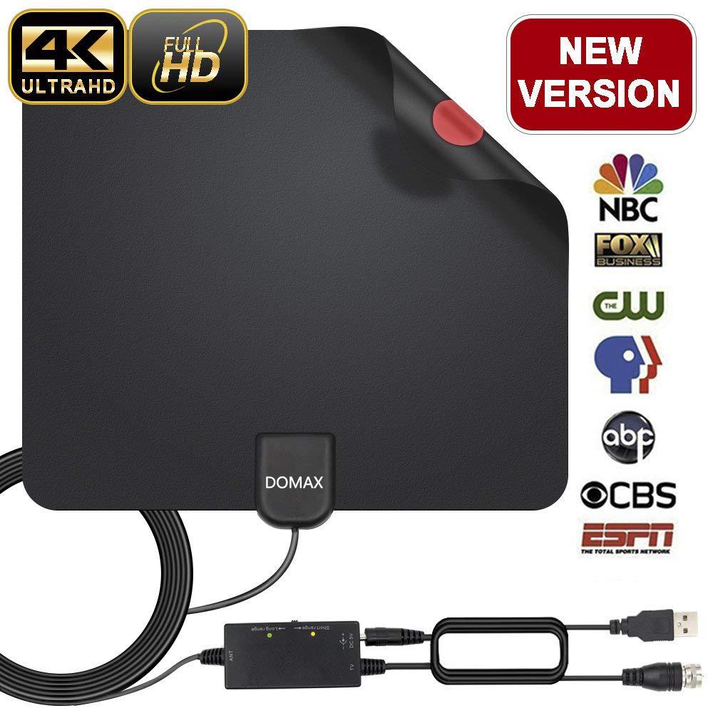 Soutien Smart TV 1080P HD 4K VHF UHF FM Amplifi/ée 120 Miles avec Signal Amplificateur Booster et 3,7 M/ètres C/âble Coaxial Antenne TV Int/érieur Puissante Antenne TNT
