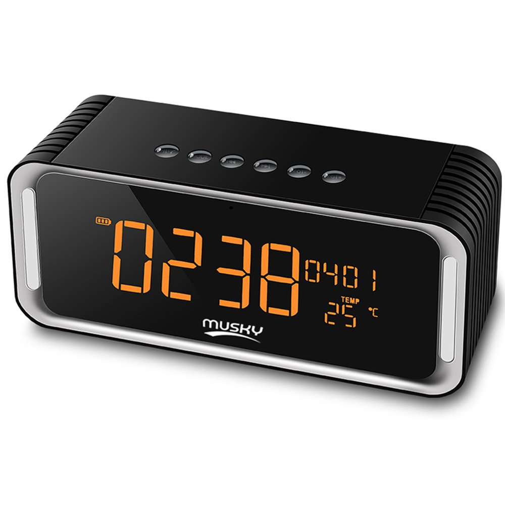 Alarm Clock FM Radio Stereo Speaker, Portable Wireless Premium Bluetooth 4.0, with LED Display, HD Sound Dual Channel 12W Drivers, Built-in-Mic, AUX Line, SD/TF Card Slot for Phones, Tablet and More