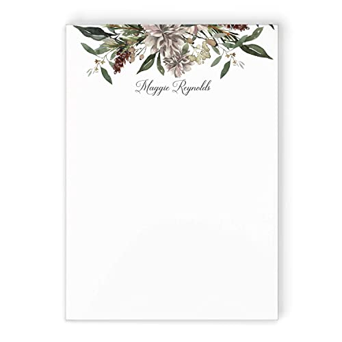 Winter Floral Notepad Personalized Holiday Grey Green Pinecone Flower Stationery Elegant Women S Memo Pad Handmade