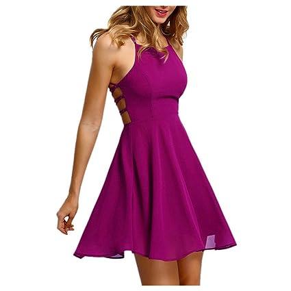 165e3f6a153 Amazon.com  Inkach Women s Cocktail Dress - Sexy Halter Backless Bandage  Sleeveless Party Mini Dresses (S