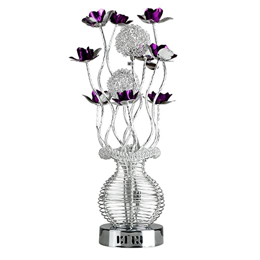 Modern Silver Purple Aluminium Metal Vase Flowers Design Table