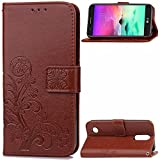 LG K20 V Case,LG K20 Plus Case,LG K10 2017 Case,LG LV5 Case,TICTOCK Embossed Pattern PU Leather Wallet Case Flip Stand Cover with Card Slots&Hand Strap for LG Harmony/LG Grace (Brown)