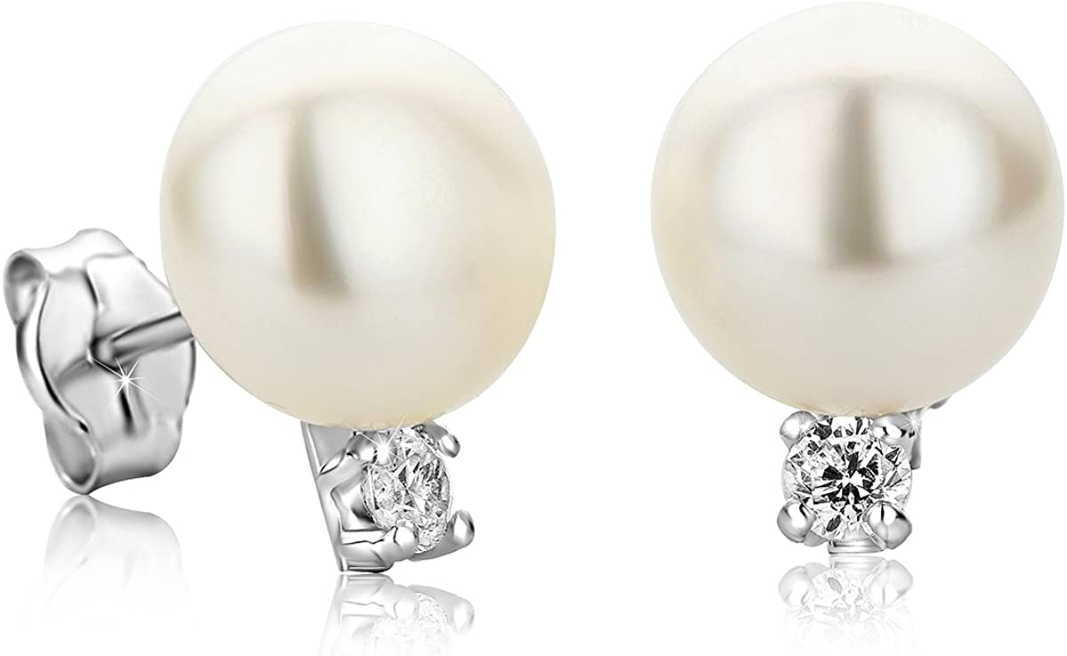 Orovi pendientes de mujer presión Perlas blancas 8.5 de aguadulce Circonita talla brillante en oro blanco 9 kilates ley 375