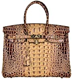 Cherish Kiss Women's Luxury Embossed Crocodile Leather Tote Office Padlock Handbags (30CM, Coffee)