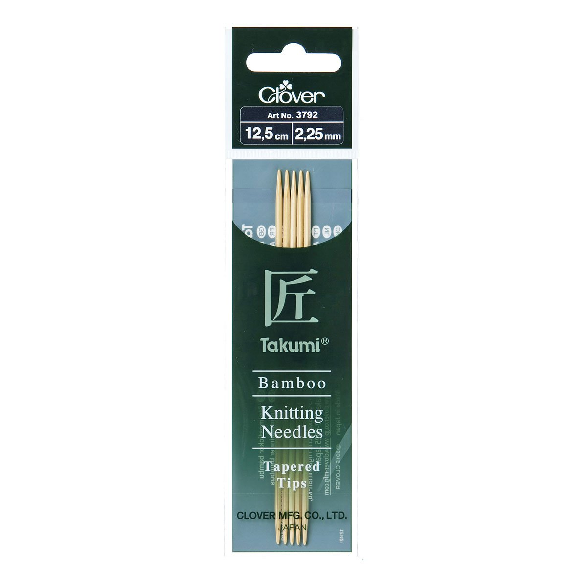 Clover Takumi Bamboo: Knitting Pins: Double Ended: Sets Five: 12.5cm x 2.25mm (3)