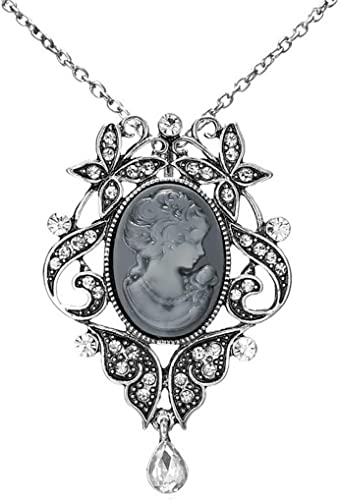 Victorian Style Lady Queen Cameo Pendant Silver Plated Resin Gray