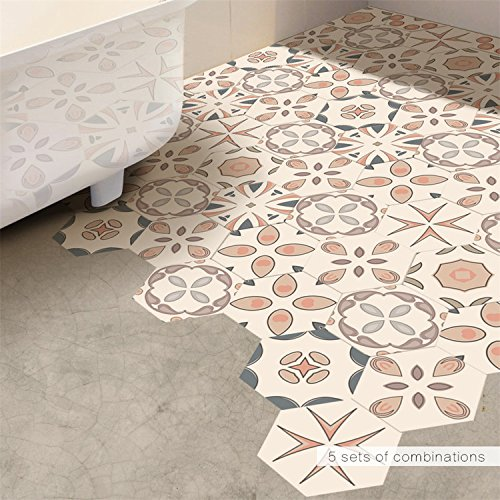 AMAZING WALL AmazingWall Mediterranean Style Tiles Floor Bedroom Bathroom Living Room Mural Art Decor Backsplash 4.53x7.87 10 Pcs/Set