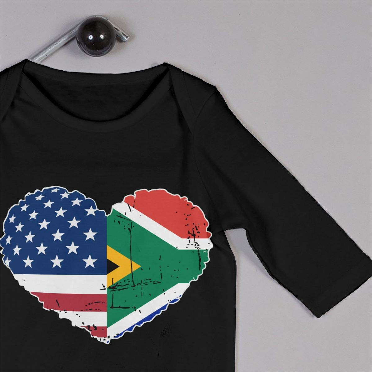 A1BY-5US Newborn Baby Boys Girls Cotton Long Sleeve South African USA Flag Heart Jumpsuit Romper Funny Printed Romper Clothes