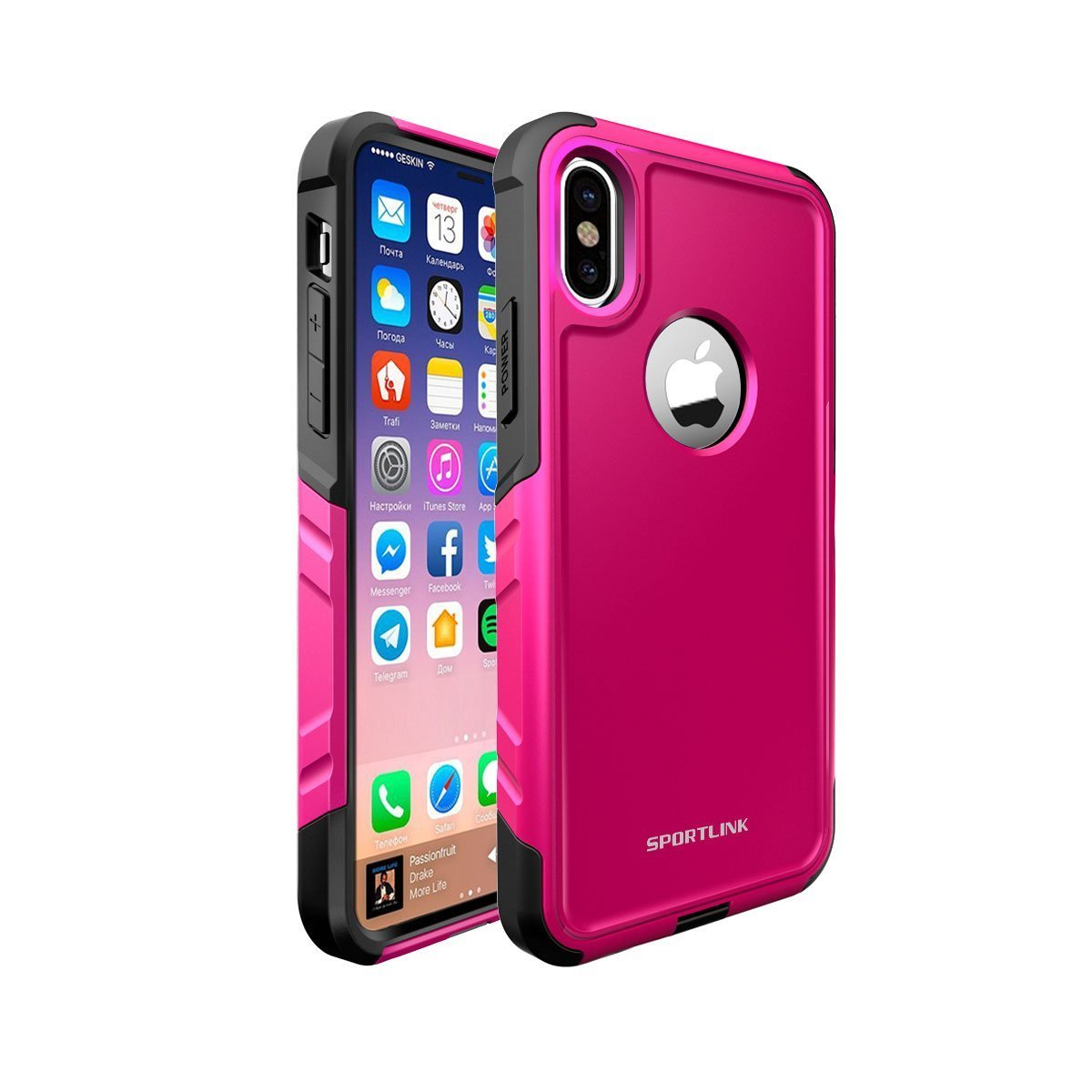 iPhone X Case , Sportlink iPhone 10 Case Dual Layer Hybrid Flexible TPU and Hard PC Double Protection Slip-Proof Drop-proof Anti-scratch Cover for Apple iPhone X 2017 (Pink)