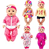 Total 5 Sets Baby Doll Clothes Include Bikini Rompers for Dolls Like 43cm New Born Baby Dolls, 15 inch Bitty Baby Doll