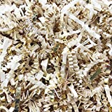 Black Cat Avenue 1 LB Ivory & Gold Crinkle Cut Paper Shred Filler For Gift Wrap and Basket Filler