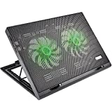 Cooler Para Notebook Warrior Power Gamer Led Verde Luminoso - AC267
