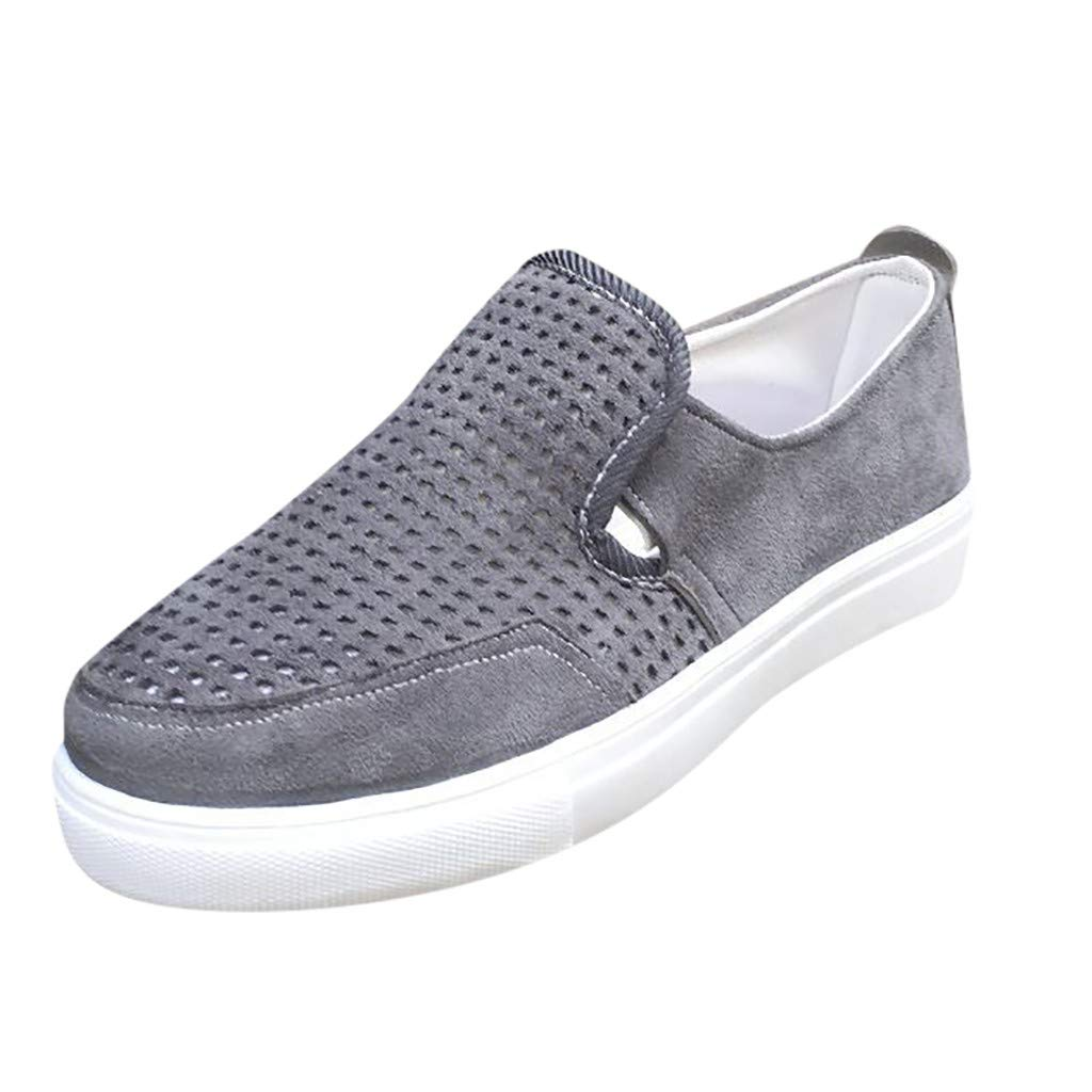New in Respctful✿Womens Casual Canvas Sneaker Shoes Slip On Flats Fashion Comfort Loafers Round Toe Flat Shoes Gray