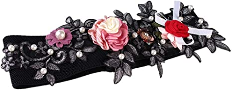 TALLA como se describe. Sharplace Cinturilla Elástica Ancha con Flores Perlas Artificiales para Vestido de Mujer Señora