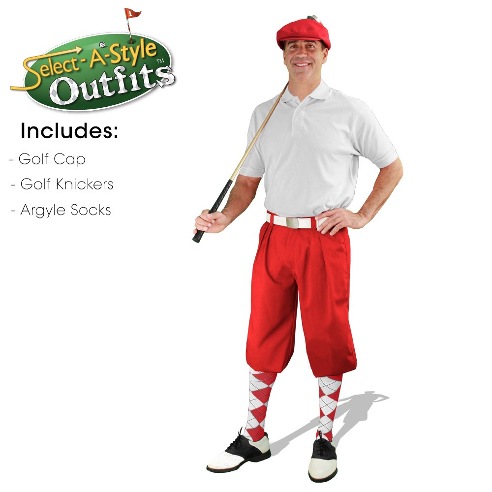 Mens Select-A-Style Golf Knicker Outfit - Red - Waist 38 - Sock - RD/WH