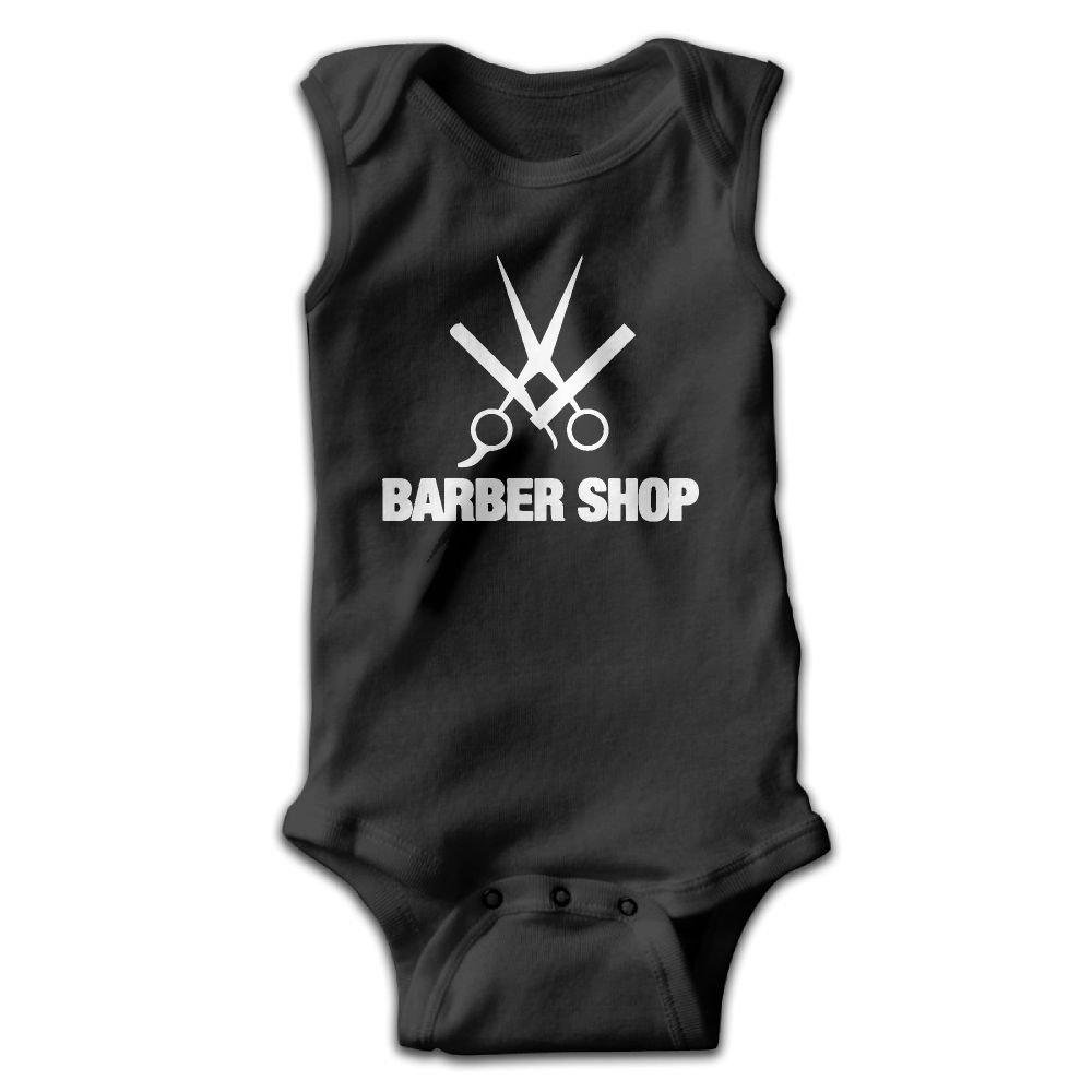 braeccesuit Barber Shop Baby Newborn Infant Creeper Sleeveless Onesie Romper Jumpsuit Black