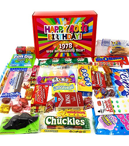 (40th Birthday Candy Gift Box Full of Nostalgic Candy for 1978, Red)