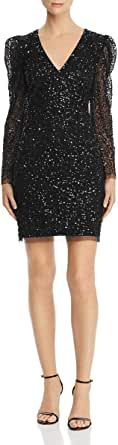 Adrianna Papell Womens AP1E205323 Sequin Dress with Ruched Long Sleeves Long Sleeve Formal Night Out Dress