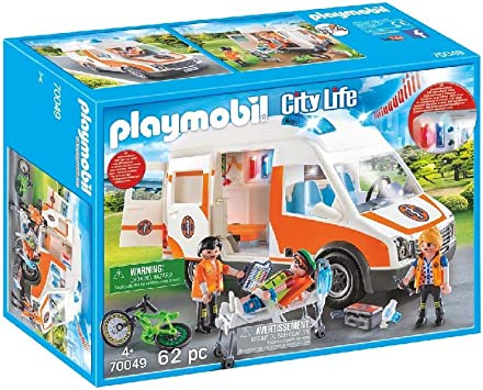 Oferta amazon: PLAYMOBIL City Life Ambulancia con Luces y Sonido, A partir de 4 años (70049)