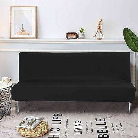 Dightyoho Funda de Sofá Cama sin Brazos, Cubierta para Sofá de 3 Plazas sin Reposabrazos Elástico Plegable Moderno de Color Sólido (160-175cm, Negro)