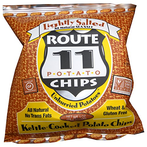 Route 11 Lightly Salted Potato Chips, kettle cooked in small batches, non-GMO, dairy free, peanut free, all natural snacks made in the USA (30 bags (1 oz each))