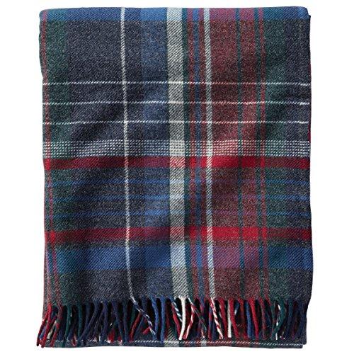 Pendleton Ashton Plaid Lambs Wool Throw Blanket, Blue, Throw