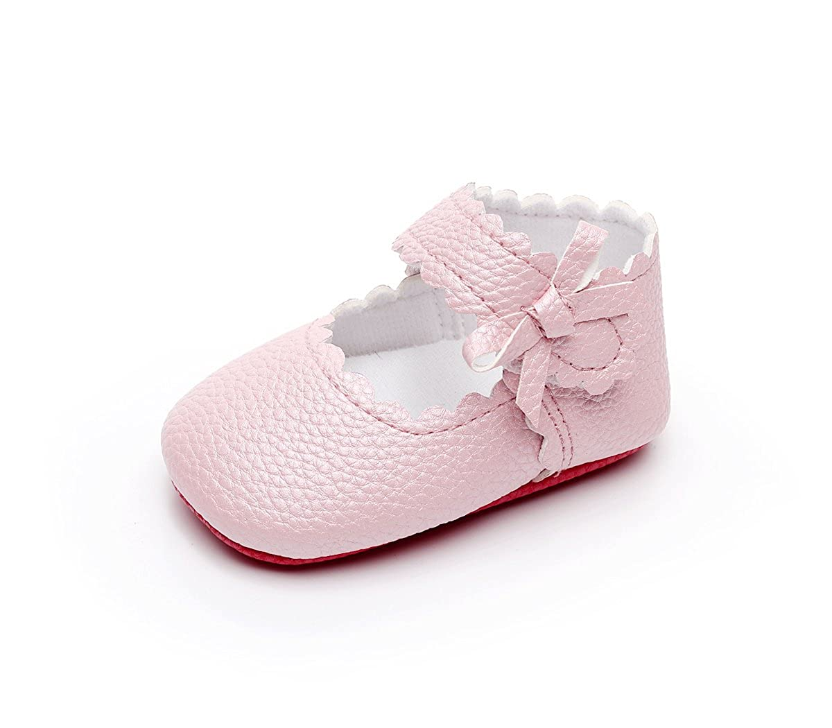 477674be7846 HONGTEYA Baby Girls Red Bottom Ballet Dress Shoes - Mary Jane Soft Sole  Sidebow Toddler Moccasins