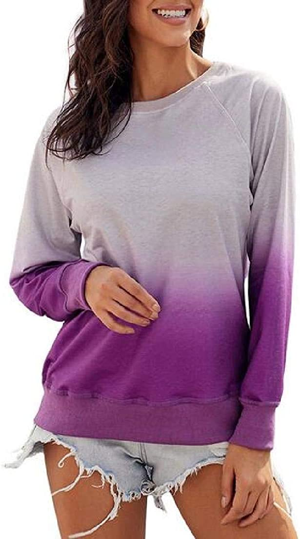 Abeaicoc Womens Round Neck Pullover Long Sleeve Gradient Loose Fit Top Sweatshirt
