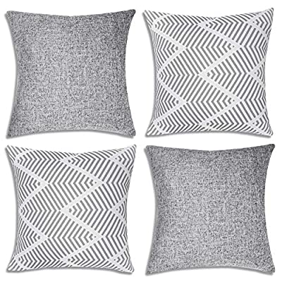Decorsurface throw pillow covers 18x18 - set of 4, decorative pillow covers for couch and sofa, cotton linen pillow covers set, simple geometric style, grey - Pillow covers size: 18x18 inch(45x45 cm), Fabric: cotton linen, Pack of 4(pillow inserts not included), throw pillow covers are great for couch, sofa, etc. Premium material & simple design: Made of high-quality cotton linen, the fabric is thick and has wrinkle resistance, set of 4 pillow covers contain 2 modern simple styles with grey color. Feature: The invisible zipper design gives your throw pillows more decent look, and it's easy to replace, these decorative pillow covers are available for home sofas, living rooms, cars, etc. Machine wash is available too, please choose the gentle cycle in cold water. - patio, outdoor-throw-pillows, outdoor-decor - 615cZBP IlL. SS400  -