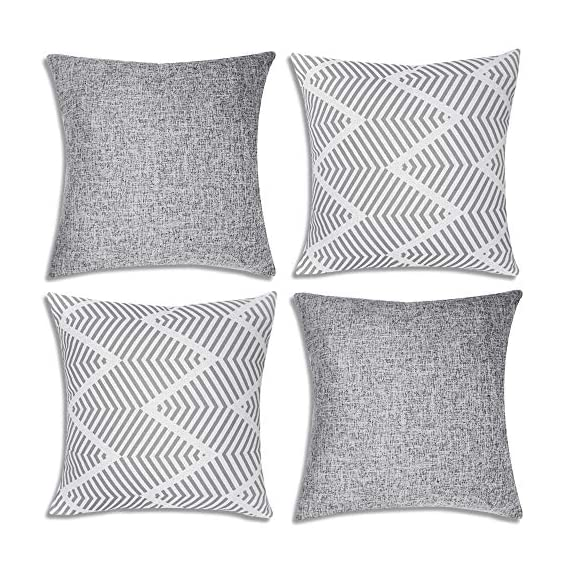Decorsurface throw pillow covers 18x18 - set of 4, decorative pillow covers for couch and sofa, cotton linen pillow covers set, simple geometric style, grey - Pillow covers size: 18x18 inch(45x45 cm), Fabric: cotton linen, Pack of 4(pillow inserts not included), throw pillow covers are great for couch, sofa, etc. Premium material & simple design: Made of high-quality cotton linen, the fabric is thick and has wrinkle resistance, set of 4 pillow covers contain 2 modern simple styles with grey color. Feature: The invisible zipper design gives your throw pillows more decent look, and it's easy to replace, these decorative pillow covers are available for home sofas, living rooms, cars, etc. Machine wash is available too, please choose the gentle cycle in cold water. - patio, outdoor-throw-pillows, outdoor-decor - 615cZBP IlL. SS570  -