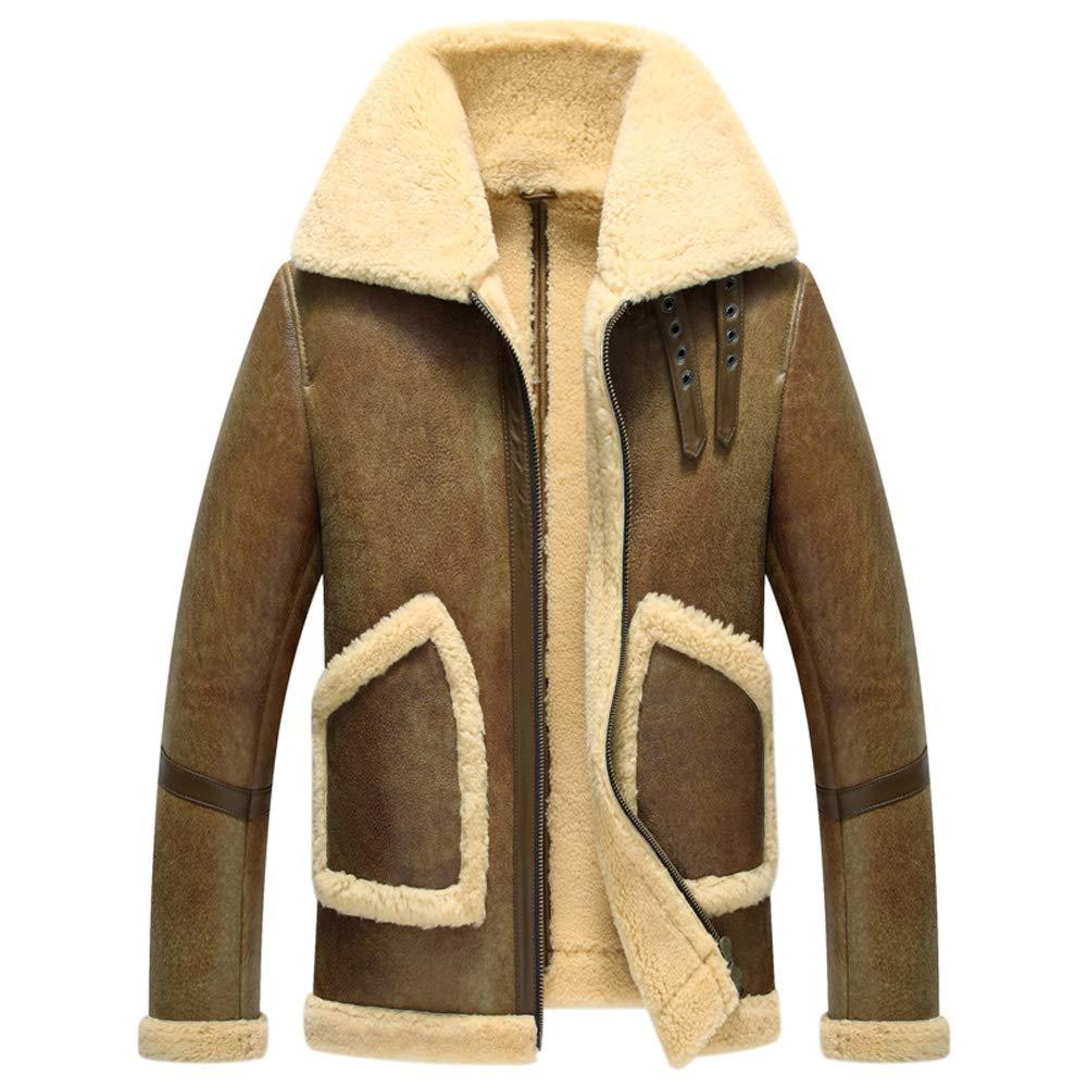 Brown Denny&Dora 2018 Mens Shearling Sheepskin Short Coat Aviator B3 Sheepskin Jacket Winter Brown Fur Outerwear