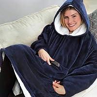 Couverture à Manches Robe à Capuche Couverture Douillette avec Manches et Poches, Couverture Polaire Microfibre - Hommes, Femmes