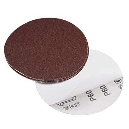 Self Stick Adhesive Back Sanding Sheets Aluminum Oxide Sandpaper for Random Orbital Sander 5pcs sourcing map 6-inch 40-Grits PSA Sanding Disc