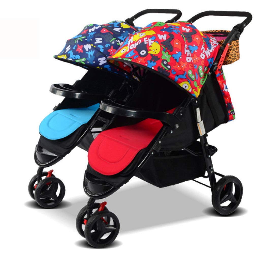 G RAQ Baby strollers twins Carbon steel ultra-lightweight folding can sit can lie high landscape umbrella baby trolley (color   G)