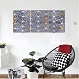 Liguo88 Custom canvas Arabian Decor Wall Hanging Geometric Lines and Stars Based on Traditional Oriental Eastern Islamic Artistic World Past Bedroom Living Room Decor Multi