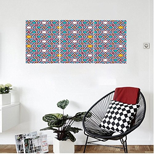 Liguo88 Custom canvas Arabian Decor Wall Hanging Geometric Lines and Stars Based on Traditional Oriental Eastern Islamic Artistic World Past Bedroom Living Room Decor Multi by Liguo88