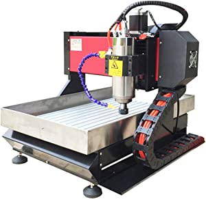 Hanchen Desktop CNC Router Engraver 24000rpm Drilling/Milling Engraving Machine Automatic Carving Machine for Copper/Aluminum Wood/Plastic Wood Accuracy 0.03mm (30x40 1.5KW Three Axis with Flume)
