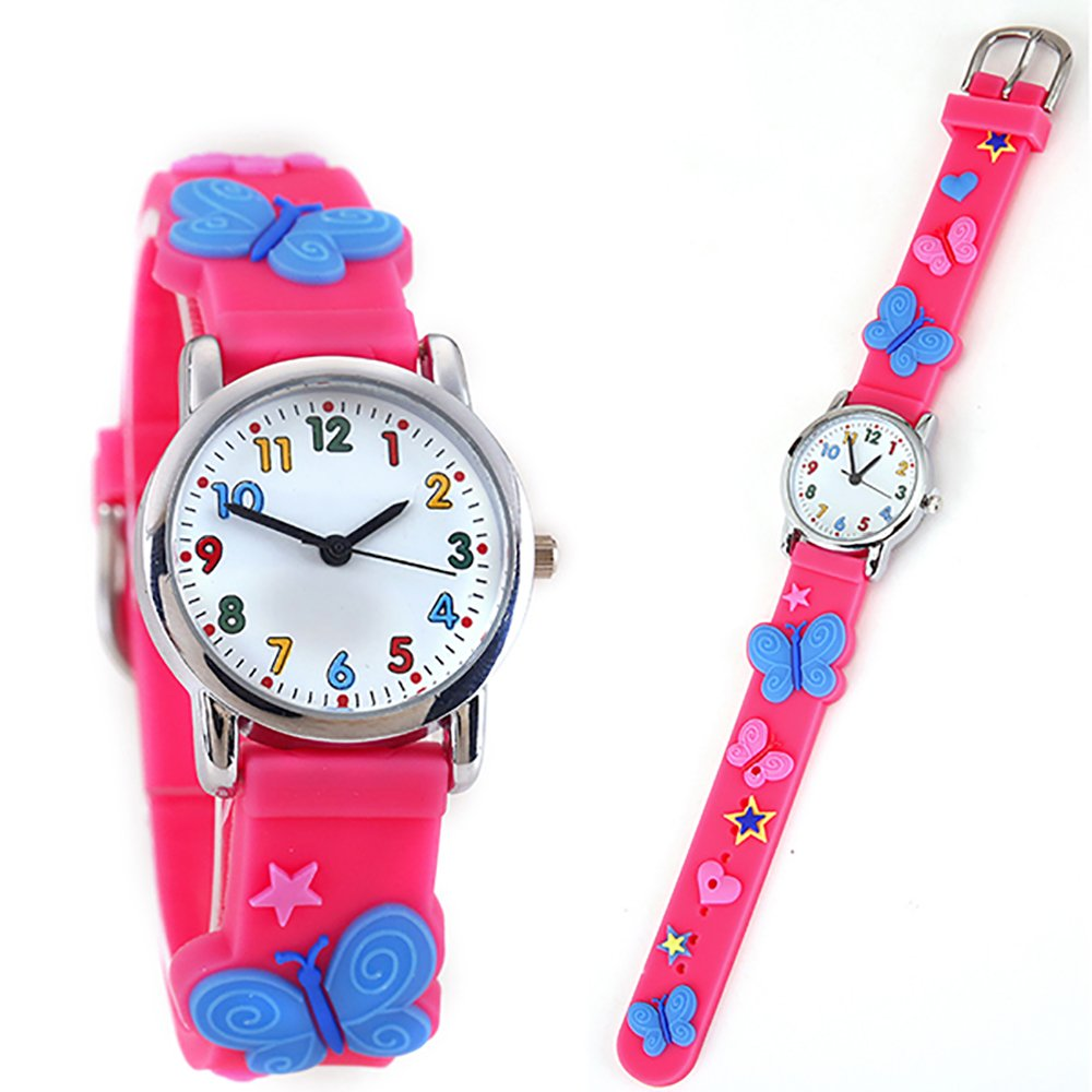 TIDOO Kid's Watch with 3D Cute Cartoon Pattern Silicone Pink Band Children Watch for Little Girls (butterfly-pink)