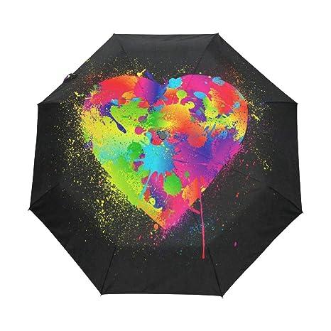 cf4a32f497c4 Amazon.com: OuLian Umbrella Love You Valentines Day Heart Hippie ...