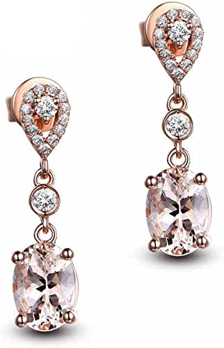 18K Gold Filled Flower String Cat Eye Morganite Zircon Wedding Lady Earrings