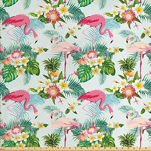 Ambesonne Flamingo Fabric by The Yard, Fresh Exotic Jungle Rainforest Island Climate Wildlife Fauna Leaves and Blossoms, Decorative Fabric for Upholstery and Home Accents, 1 Yard, Multicolor