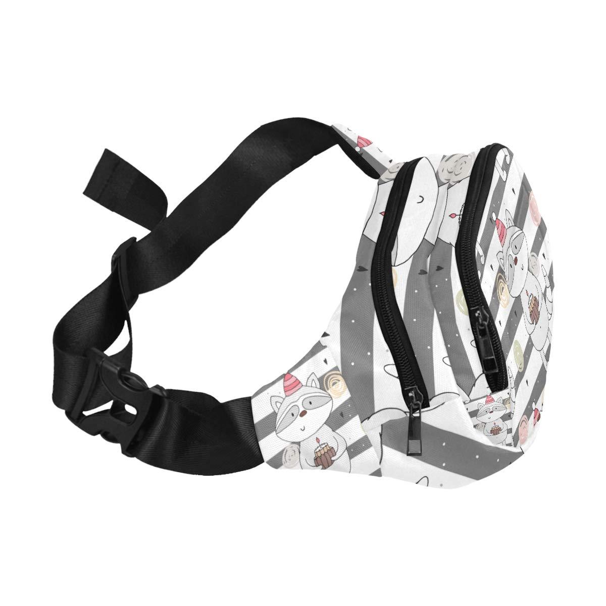 Many Cute Lovely Raccoon Carton Fenny Packs Waist Bags Adjustable Belt Waterproof Nylon Travel Running Sport Vacation Party For Men Women Boys Girls Kids