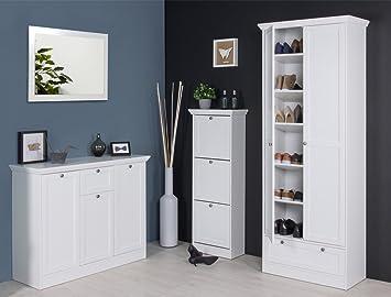 Garderobenset Landström 148 Weiß Sideboard Schuhschrank Kommode  Mehrzweckschrank Landhausmöbel Diele Flur