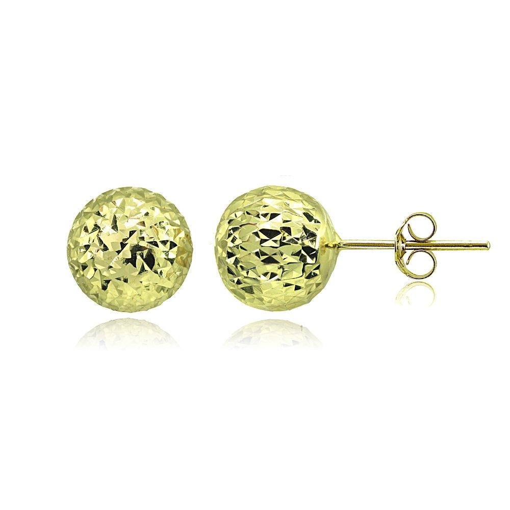 Sterling Silver Polished Diamond-Cut Ball Bead Stud Earrings, 8mm or 10mm Hoops & Loops