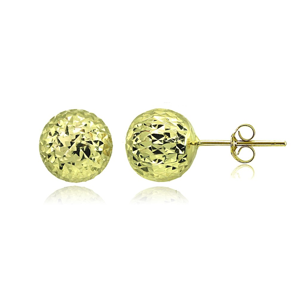 Yellow Gold Flashed Sterling Silver Polished 10mm Diamond-Cut Ball Bead Stud Earrings