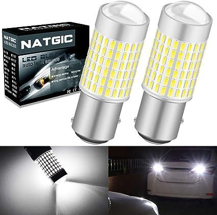 NATGIC 1157 BAY15D P21/5W Bombillas LED Xenon blanco 3000LM 3014 ...